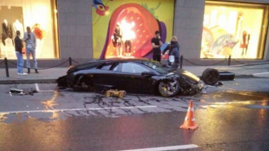 A $346,000 Lamborghini Slams Into High-End Storefront in Central Moscow.
