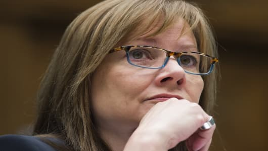 General Motors CEO Mary Barra testifies on the GM ignition switch recall during a US House Oversight and Investigations Subcommittee hearing on Capitol Hill in Washington, DC, June 18, 2014.
