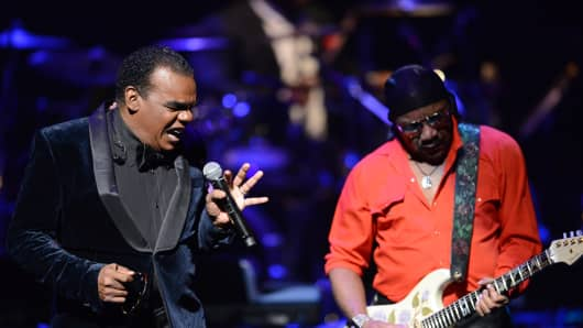 Ronald Isley and Ernie Isley of the Isley Brothers perform on stage during the Apollo Spring Gala and 80th Anniversary Celebration at The Apollo Theater on June 10, 2014 in New York City.