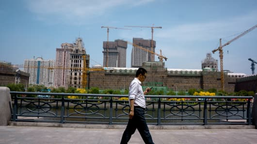 A large construction project in Tianjin, China.