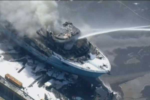 A $24 million yacht goes up in flames