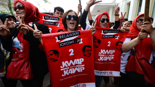 Supporters of  Joko Widodo, governor of Jakarta and presidential candidate