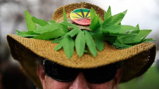 A marijuana themed hat during the 420 Rally at Civic Center Park in Denver, Colorado, April 19, 2014