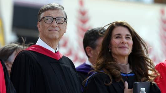 Bill and Melinda Gates at Stanford's graduation ceremony, June 15, 2014