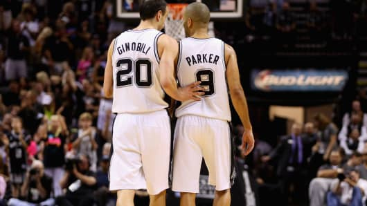 Manu Ginobili and Tony Parker of the San Antonio Spurs.