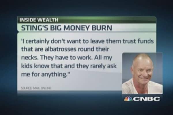 Sting's big money burn