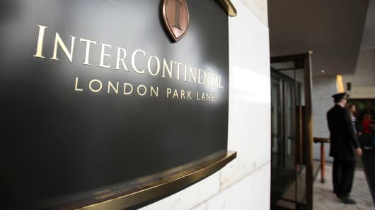 A sign for the InterContinental Hotel, operated by the InterContinental Hotels Group Plc, sits on display at the hotel in Park Lane, London.