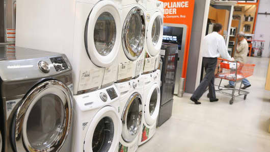 Household appliances are offered for sale at Home Depot in Chicago.