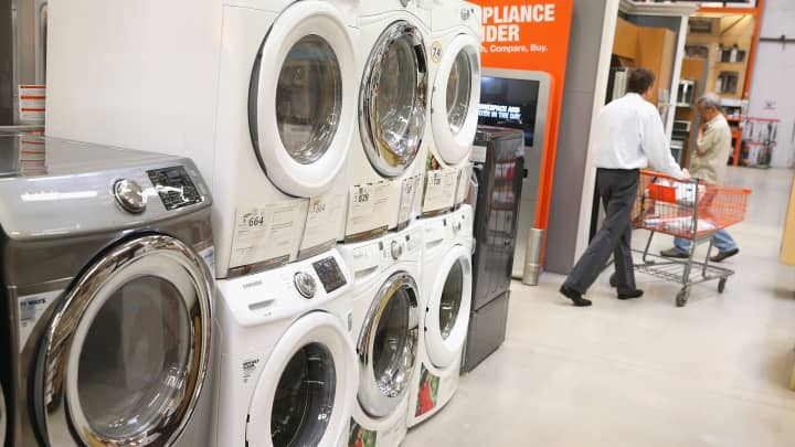 Household appliances are offered for sale at Home Depot on May 28, 2014 in Chicago.