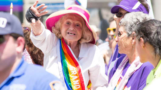 Edith Windsor, the woman at the center of the U.S. Supreme Court decision granting gay couples federal marriage benefits, attends the gay pride parade in New York last year.