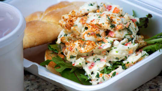 A crab salad sandwich from Feelin' Crabby.