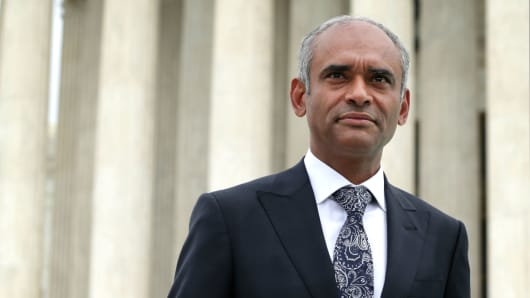 Aereo CEO Chet Kanojia leaves the U.S. Supreme Court after oral arguments April 22, 2014 in Washington, DC.