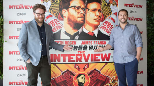 Seth Rogen and Evan Goldberg attend the photocall of the movie 'The Interview' on June 18, 2014 in Barcelona, Spain.