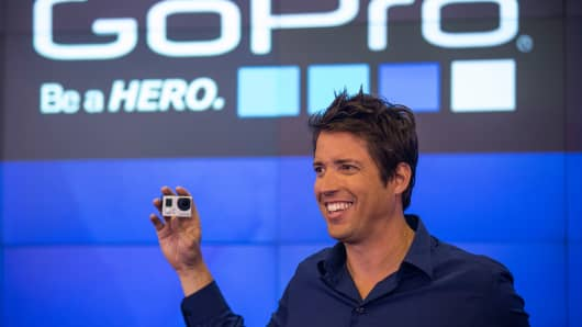 Nick Woodman, founder and CEO of GoPro, speaks during the company's IPO at the Nasdaq Stock Exchange on June 26, 2014 in New York City.