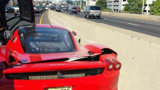 This rare $600,000 Ferrari was damaged in a crash on Interstate 95 in Stamford on Monday.