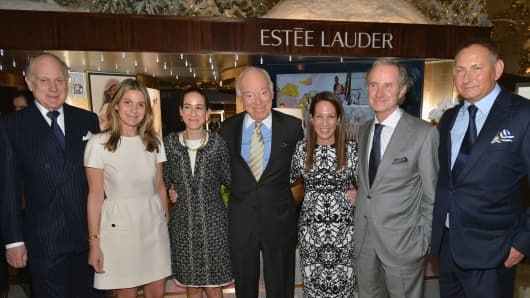 Ronald Lauder, Aerin Lauder, Jane Lauder, Leonard Lauder and Fabrizio Freda attend the AERIN Fragrance Launch at Saks Fifth Avenue
