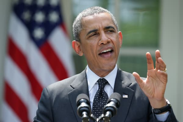 President Barack Obama in the Rose Garden.