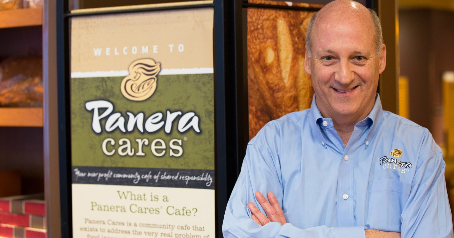 Former Panera Bread CEO Ronald Shaich in front of Panera Cares in Boston, one of five pay-as-you-want community cafés.