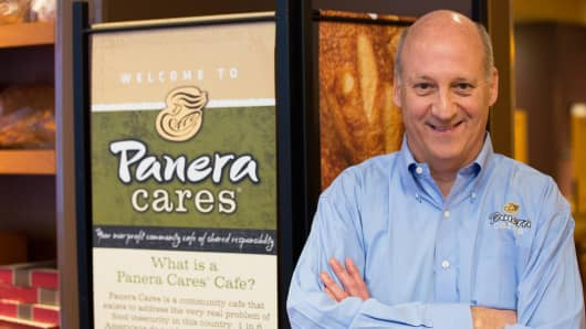 Panera Bread CEO Ronald Shaich in front of Panera Cares in Boston, one of five pay-as-you-want community cafés.