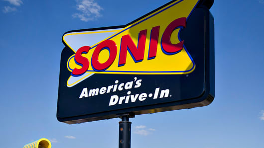 A Sonic Corp. drive-in restaurant sign in Normal, Illinois