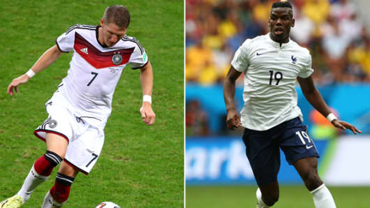 From left: Bastian Schweinsteiger of Germany and Paul Pogba of France