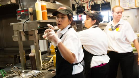 Employees at a Hardee's Restaurant in Pasadena, MD.