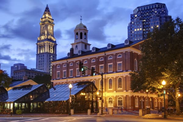 'Faneuil Hall located near the waterfront and today's Government Center, in Boston, Massachusetts.