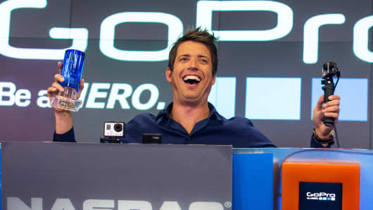 Nick Woodman, founder and CEO of GoPro, speaks during the company's initial public offering at the Nasdaq Stock Exchange on June 26, 2014, in New York City.
