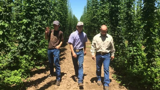 Hop Grower Ben Smith with the next generation of growers, sons Ethan (17) and Adam (15).