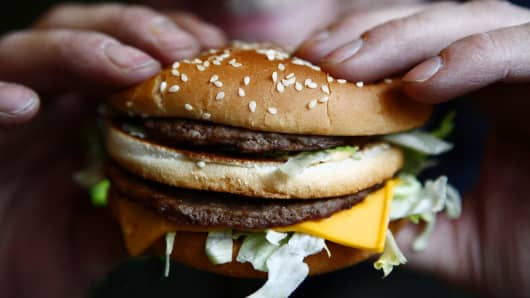 Big Mac burger at a McDonald's.