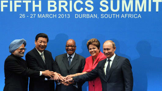 Leaders from the BRICS group of emerging powers pose for a photo.