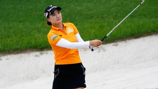 So Yeon Ryu of South Korea plays a shot.