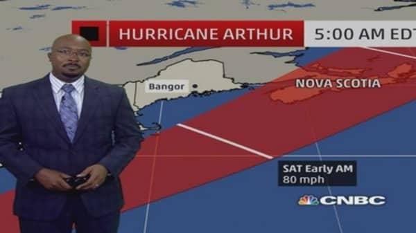 Eye on tropical storm Arthur