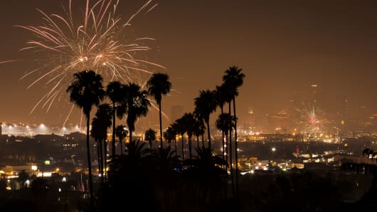 Fireworks erupt over Downtown Los Angeles.
