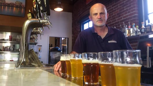 Jeff Edgerton, Brew Master for Bridgeport Brewing says the people that sell hops, they're driving the bus right now.