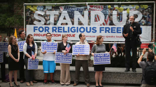 A rally in support of religious freedom after the Supreme Court's decision in the Hobby Lobby, contraception coverage requirement case on June 30, 2014 in Chicago, Illinois.