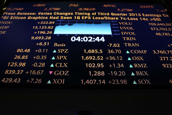 A board of stock indicators shows upward momentum on the floor of the New York Stock Exchange.