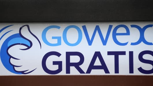The logo of wifi provider Gowex in Madrid.