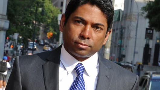 Rengan Rajaratnam, founder of Sedna Capital Management and younger brother of imprisoned hedge-fund founder Raj Rajaratnam, arrives at federal court in New York, June 17, 2014.
