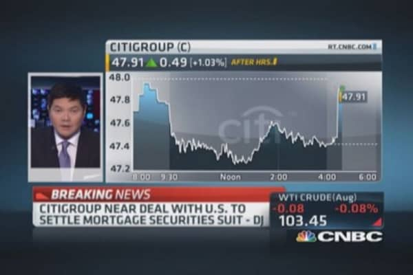 Citi & US near mortgage securities settlement: DJ