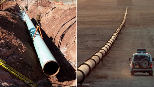 Construction of the Keystone Pipeline in Prague, Okla., (L) and an oil pipeline in northeastern Saudi Arabia.