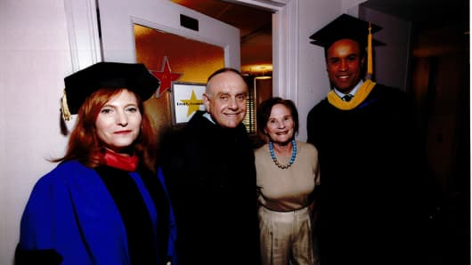 Cooperman received an honorary doctorate degree in humane letters from Hunter College. Jennifer Raab, president of Hunter College; Lee and Toby Cooperman; Maurice DuBois (June 3, 2010).