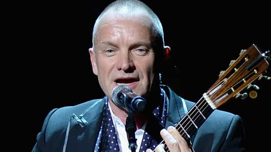 Sting at the 25th Anniversary Rainforest Fund Benefit Concert at Carnegie Hall on April 17, 2014, in New York City