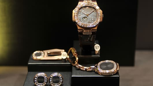 Patek Philippe products are displayed at a watch and jewellery fair in Basel, Switzerland.