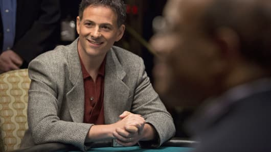 Greenlight Capital President David Einhorn sits at a poker table in Atlantic City, N.J.