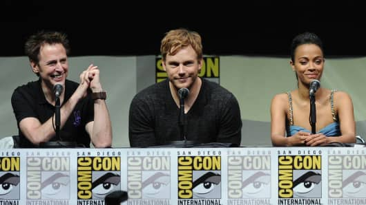 Filmmaker James Gunn, actors Chris Pratt and Zoe Saldana from Marvel Studios movie 'Guardians of the Galaxy'.