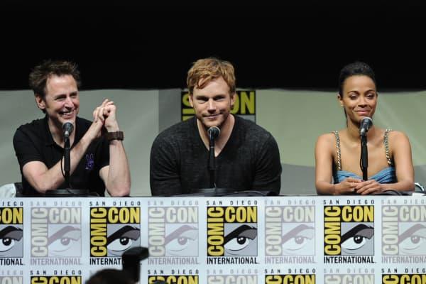 Filmmaker James Gunn, actors Chris Pratt and Zoe Saldana from Marvel Studios movie 'Guardians of the Galaxy'.