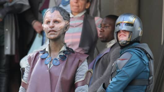 Actors in full make-up filming scenes for 'Guardians of the Galaxy' in London, England.