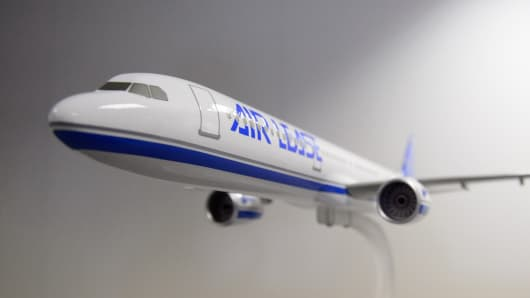 The Airbus A330-900 NEO aircraft in model form.