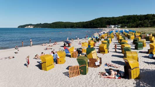 Beach chairs at a beach, Baltic Sea Spa Binz, Ruegen, Mecklenburg-Vorpommern, Germany